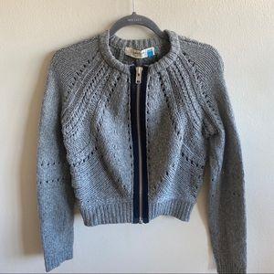Anthropologie Sparrow Chunky Knit Zip Grey Sweater